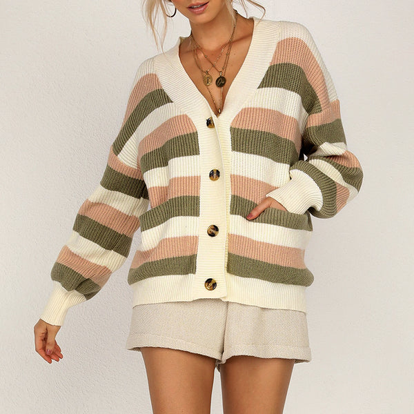 Simplee Casual v-neck women knitted sweaters Lantern sleeve single-breasted female cardigan Office lady stripe loose sweater
