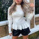 Simple elegant women's round neck solid white Long Sleeve Pullover Sweater Autumn winter female sweater ladies leisure jumper