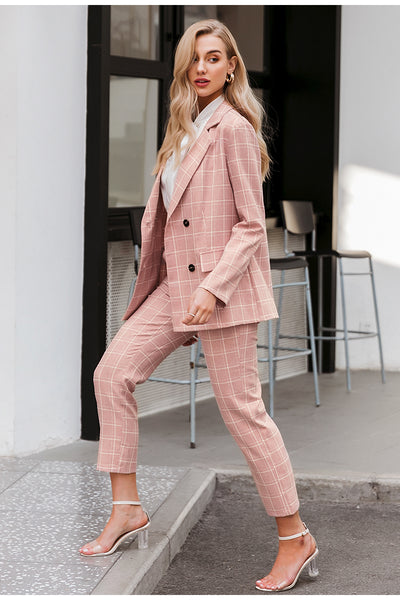 Fashion plaid women blazer suits Long sleeve double breasted blazer pants set Pink office ladies two-piece blazer sets