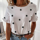 Women printed short sleeve round neck Shirt top Holiday beach summer style tops Cute square elegant solid slim shirts