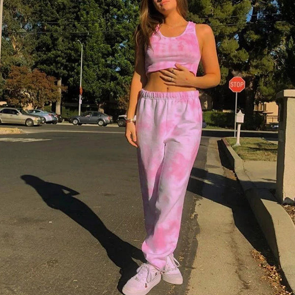 Glamaker Tie-dye 2 piece set top and pants crop top sleeveless women summer fashion pink set suit female sexy two piece outfits