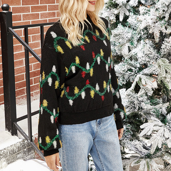 leaves Christmas Sweater Winter Black Warm women's Pullover Street fashion round neck knitted sweater 2020 new
