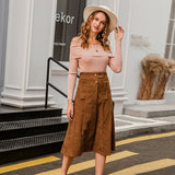 A-line corduroy skirt women Autumn winter vintage solid female midi skirt Elegant high waist sash women skirt 2020