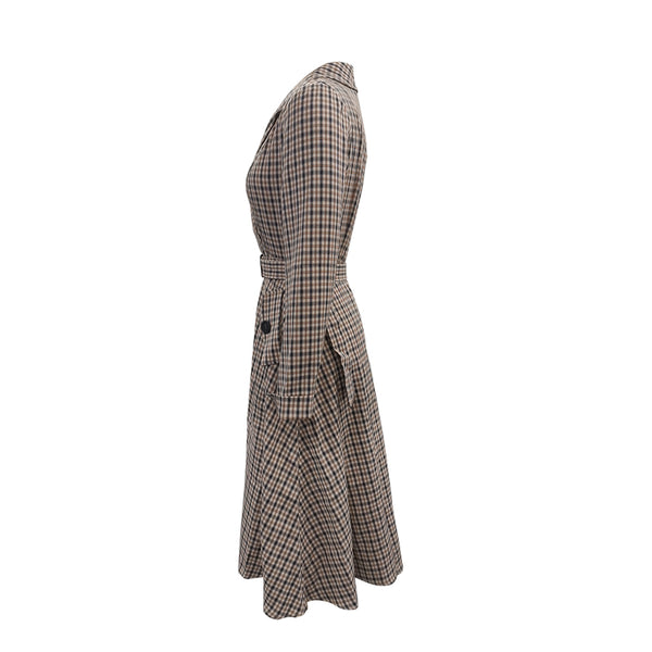 Simplee Elegant brown plaid autumn winter office dress Office ladies lace a-line dress High street fashion v-neck women dress