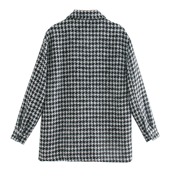 Fashionable houndstooth women's shirt Lapel long sleeve winter Office top High street style Plaid loose shirt 2020 new