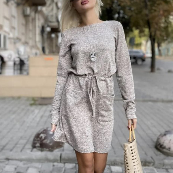 Simplee Casual A-Line women's dress Lace up pocket o-neck long sleeve dress Comfortable autumn holiday dress Office dress 2020