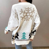 Cartoon pattern women's knitting Pullover V-neck single breasted fashion sweater Leisure Christmas autumn winter 2020