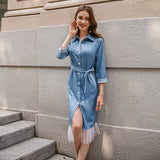 Elegant long women denim dress with belt Vintage female Splicing denim dress Spring autumn slim ladies office dress 2020