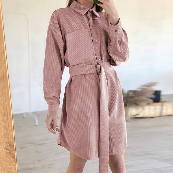 Simplee A-Line corduroy short dress with belt Chic Turn-down single collar dress women Autumn winter pocket pink dress 2020