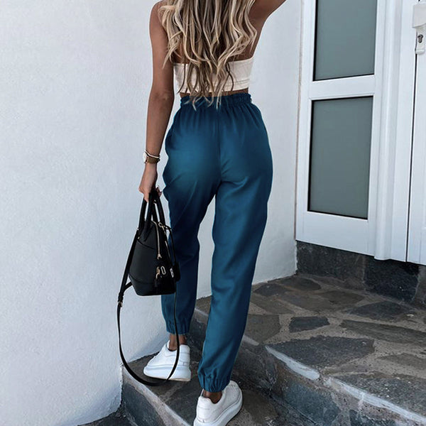 Simplee Solid color lace up women's Harlem pants Casual sports loose home pants Street pink polyester pants new summer 2020