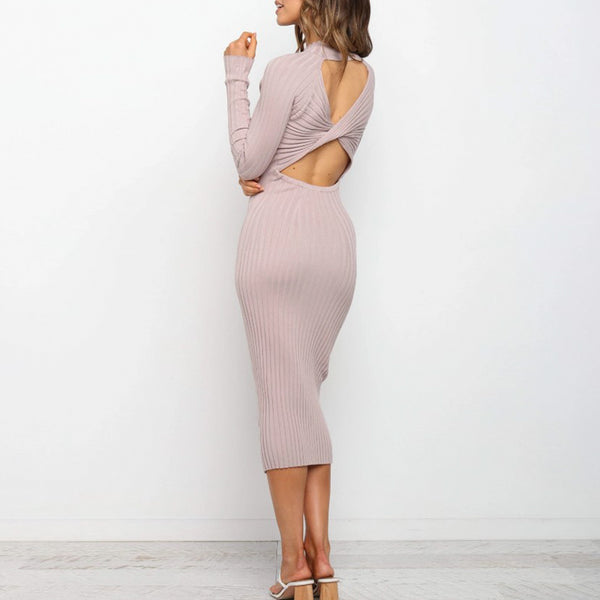 Sexy open back women's dress Solid color slim elegant long sleeve dress Party women's autumn fashion round neck 2020