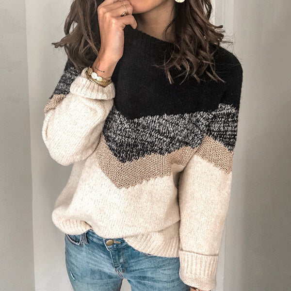 Casual stripe knitted sweater Loose color contrast round neck Pullover Korean street style women's sweater winter 2020