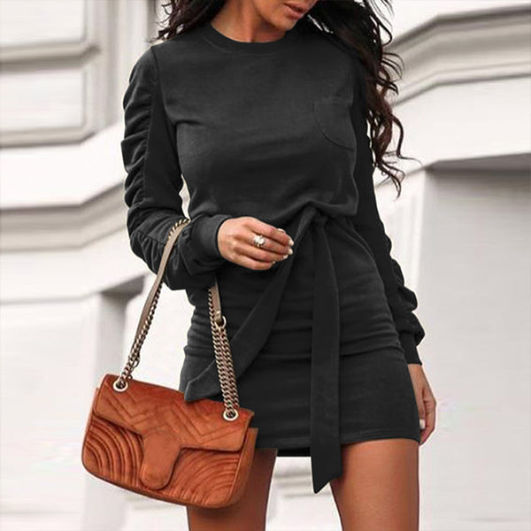 White fashion women's dress O-neck slim high street style long sleeve dress With belt Autumn winter elegant office dress