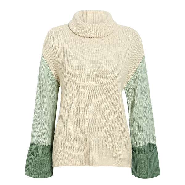 Patchwork turtleneck knitted sweaters female Casual long sleeve korean pullover jumper Women streetwear ladies sweater