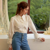 Casual turndown collar women blouse shirt Bubble sleeve embroidery flower female tops blouse Office lady splice blouse