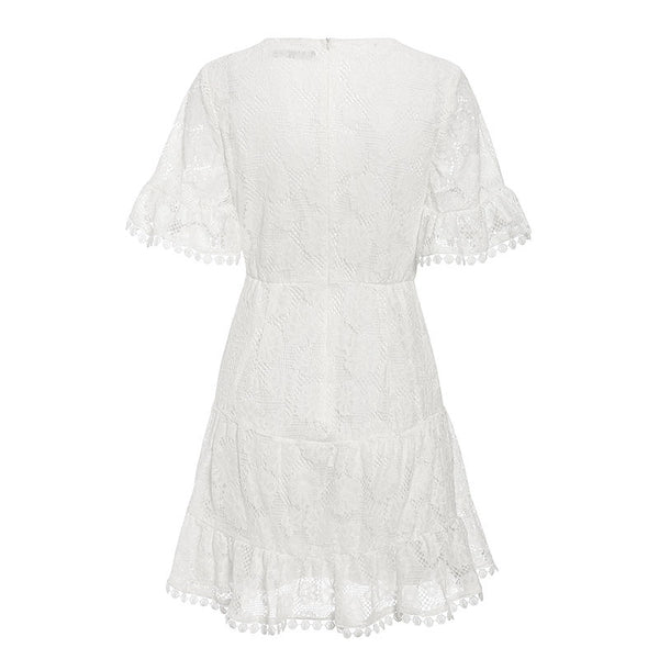 Simplee V neck flower lace embroidery women dress High waist holiday beach female a-line mini dresses Ruffled white cotton dress