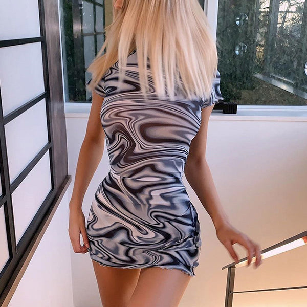Glamaker Summer short sleeve bodycon dress women 2020 fashion sexy streetwear mini dress female vintage turtleneck club dress