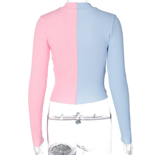 Patchwork fashion knitted top Sexy bodycon double zipper pink and blue top shirt Women winter autumn slim crop top 2020