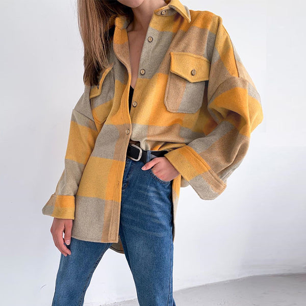 Simplee Streetwear long sleeve loose ladies jackets Casual plaid women blouse tweed coat Buttons pockets female blend coats 2020