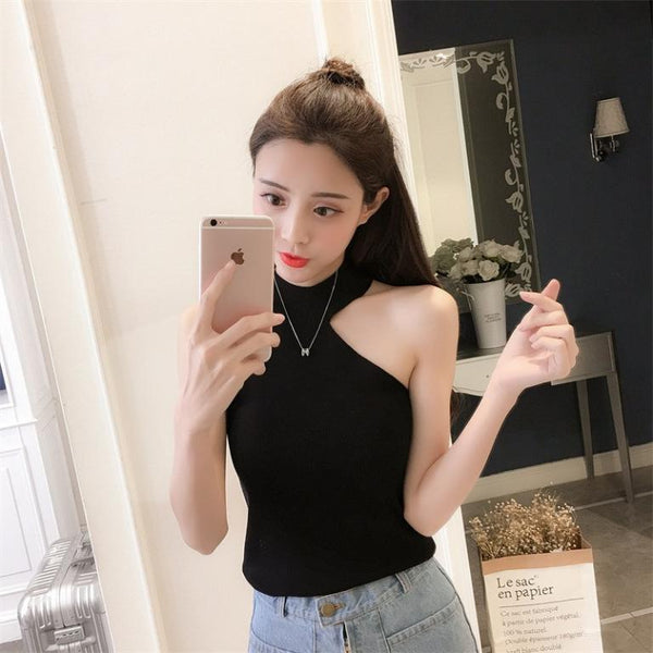Simplee Casual solid women white cami tops Elegant halter female party tops Summer streetwear bodycon ladies tank tops 2019