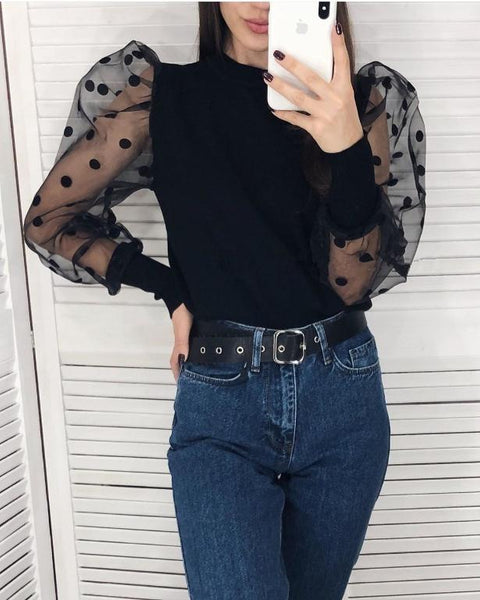 Simplee Patchwork polka dot puff sleeve women blouse Elegant autumn winter female knitted tops shirt Party club slim ladies tops