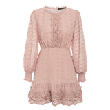 Sexy white chiffon dress women Long lantern sleeve lace dresses dots female  Luxury slim evening party dress vestidos