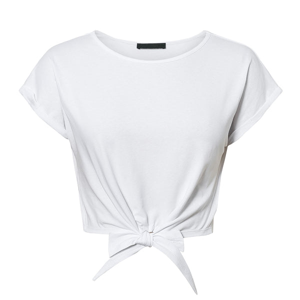 Sexy women t shirt tops Spring summer female cotton top shirts Elegant party club ladies tied white solid t-shirt 2020