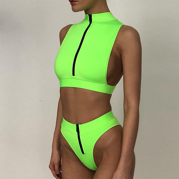 Neon green bikini 2020 Zipper swimsuit female High waist swimwear women bathing suit Summer bathers Sexy two piece suits new