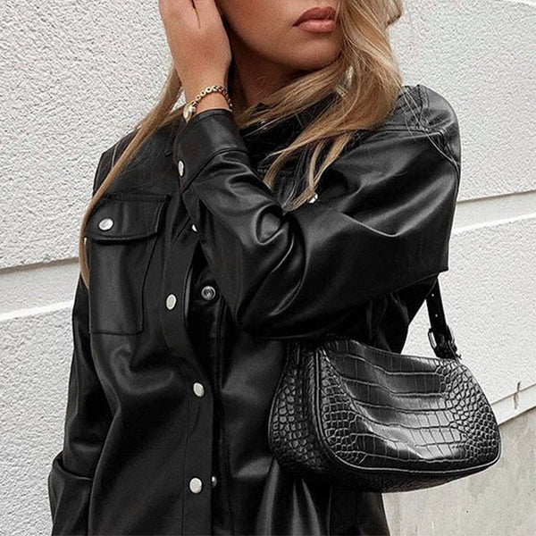 Conmoto  spring pu locomotive jackets coats women cool black high fashion stand collar jacket oversize BF streetwear outwear