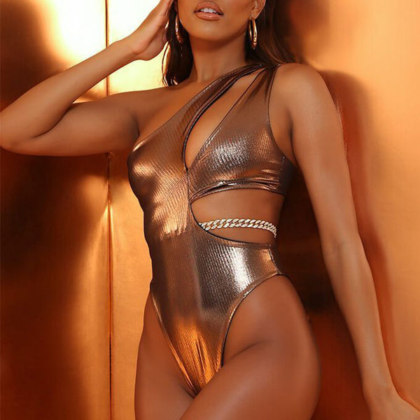Holographic bikinis 2020 Mujer High cut swimwear women Ring chain bathing suit One shoulder one-piece swimsuit female monokini