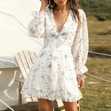 Chiffon sexy casual summer beach dresses women plus size floral boho dress long sleeve short vintage dress vestidos