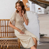 Sexy v-neck cotton women summer dress Elegant buttons puff sleeve female solid sundress Office work ladies midi dresses