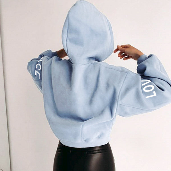 Simplee casual solid blue women sweatshirt Long sleeve autumn winter women hoodies tops Fashion loose female shirt pull femme