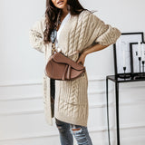 Simplee Causal apricot autumn winter women cardigan Elegant v-neck long sleeve knitted sweater Fashion pocket straight cardigan