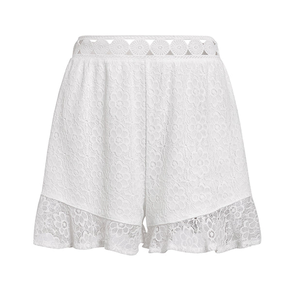 Simplee Ruffle mid waist lace women mujer shorts Beach style flower pattern polyester ladies shorts Micro-bomb lined shorts