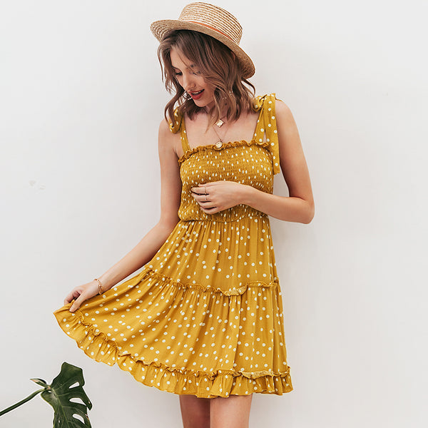 Casual summer beach 2020 dresses women spaghetti strap sexy short ruffles dress backless strapless dot dress vestidos