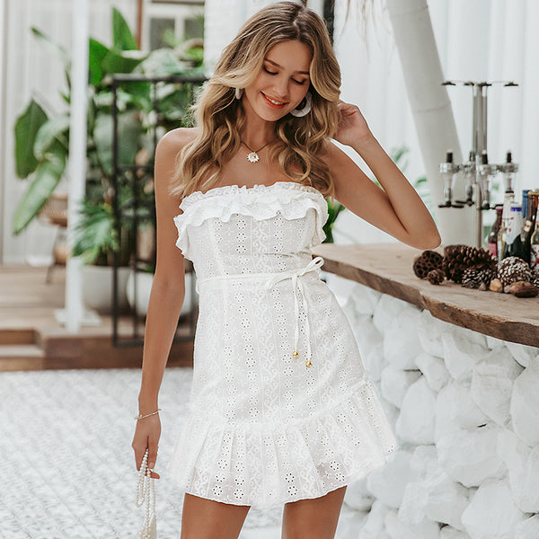 Strapless summer white dresses women sexy ruffles solid lace embroidery dress femme robe beach bow slim dress vestidos