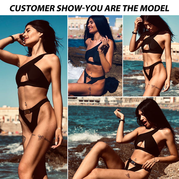 In-X One shoulder bikini 2020 Buckle high cut swimsuit Sexy thong bikini Hollow out bathing suit White push up swimwear women