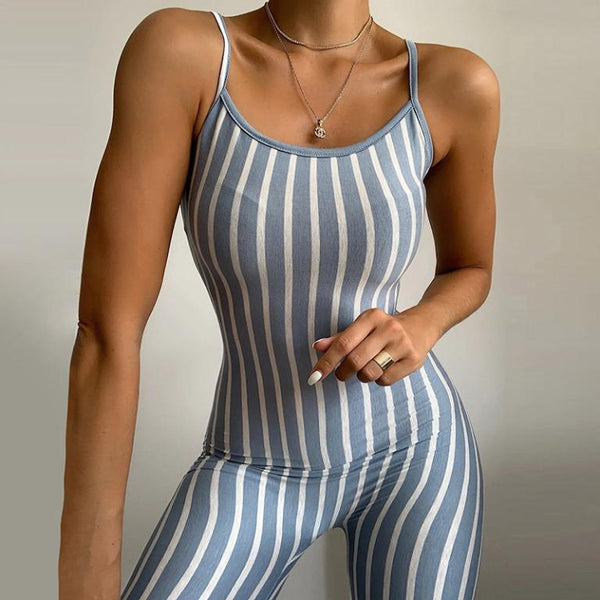 Striped print bodycon fitness jumpsuit romper Women summer sleeveless short jumpsuit 2020 female sexy playsuit overalls