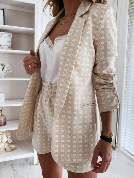 Elegant two piece women blazer suits Office lady long sleeve ladies sets Fashion geometric printed blazer shorts suits