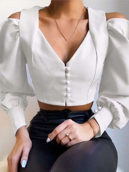 Glamaker Cold shoulder v neck white blouse shirt women long sleeve crop top female shirt sexy fashion ladies tops elegant blouse