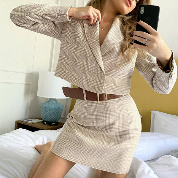 Two-piece casual plaid women dress Elegant long sleeve button skirt suits A-line notched office lady autumnn suits 2020