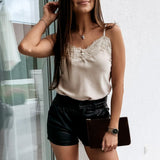 Simplee V-neck sexy lace up loose female tanks Women basic sleeveless camis 2020 Elegant casual Splicing button party tops