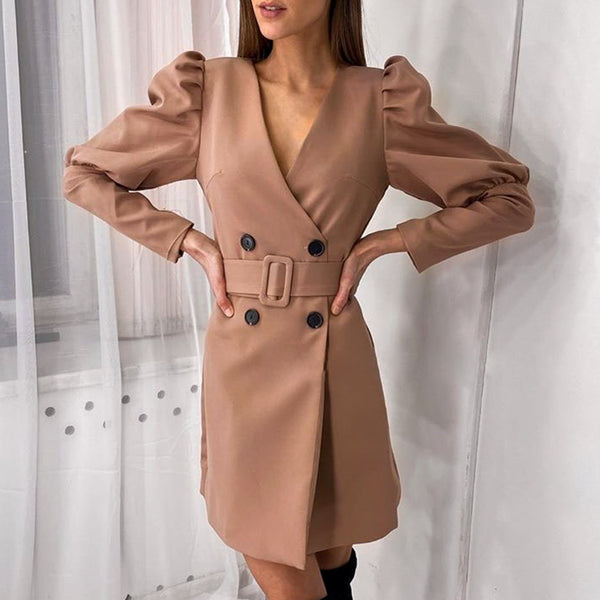 Simplee button A-line dress women V-neck Ladies puff sleeve autumn work wear dress Fashion belt decoration female dress 2020