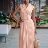 Simplee casual notched sleeveless dress Patchwork high waist belt office ladies midi dress Elegant pleated pink dresses 2020