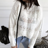 Simplee knitted hollow out sweater women Drop-shoulder sleeve pullover Loose high-necked white sweater autumn winter 2020