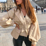 Simplee chic solid autumn jacket women Notched lantern sleeve short outwear coat High waist belt trench coat pocket design 2020