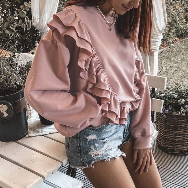 Drop-shoulder sleeve ruffled sweatshirt women Casual loose pink pullover autumn 2020 Short crewneck pullover for female