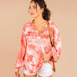 Women's Tie Dye Lantern Sleeve V Neck Loose Tops Casual T Shirt