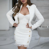 Tweed white jackets coats 2020 women fashion sexy winter cropped jacket elegant office ladies outerwear short jacket